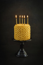 Golden Birthday Cake With Knit...