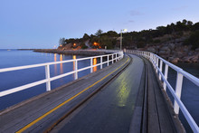 Wooden Walkway At Dusk, Granite Island, Victor Harbor, South Australia, Australia