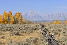 Buck And Rail Fence With Teton Mountain Range In Background, Jackson, Grand Teton, Grand Teton National Park, Wyoming, USA