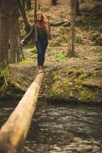 Female Hiker Walking On The Fa...