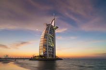 Burj Al Arab Hotel At Sunset, ...