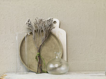 Still Life Of Dried Twigs With Glass Vase