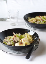 Buckwheat Risotto With Chicken, Apples And Fennel, On Black Plates With Fork, Studio Shot On White Background