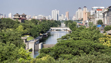 Xian City Wall, Side Wall Skylline View - Xian City, Shaanxi Province, China