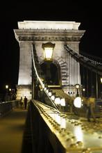 Szechenyi Chain Bridge At Night, Budapest, Hungary