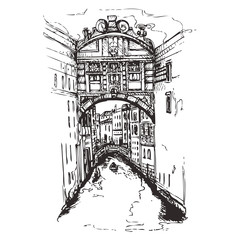 FototapetaBridge of Sighs at Doge's Palace, Venice, Italy.Italy with houses and water, drawn in sketch style.