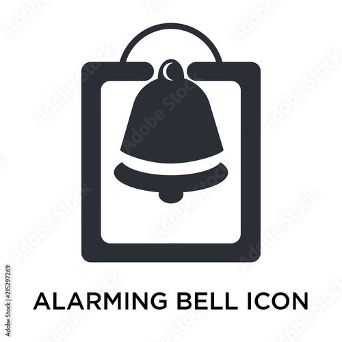 Fotografie, Obraz  Alarming Bell icon vector sign and symbol isolated on white background, Alarming