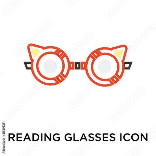 Fotografía  Reading glasses icon vector sign and symbol isolated on white background, Readin