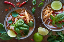 Overhead Of Thai Red Curry Noodles With Chicken