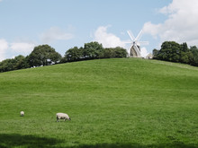 Six Sail Windmill On The Brow Of A Hill. Derbyshire, UK.