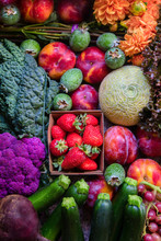 Colorful Organic Fruits And Vegetables From The Farmer's Market
