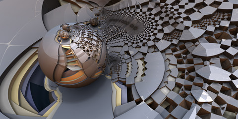 3D Abstract Illustration - Silver Metallic, Yellow and Gray Escher Style geometric patterns, interconnected objects. Silver spherical design on left side of frame, miscellaneous geometric patterns.