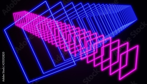 Cyber retro style neon glowing abstract art, pink and blue, 3D render.