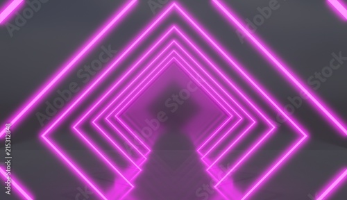Rhombic tunnel made of pink neon lights, retro style render.
