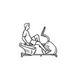Man training on exercise bike hand drawn outline doodle icon. Fitness machines, gym workout exercises concept. Vector sketch illustration for print, web, mobile and infographics on white background.