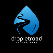 Water Droplet Road Logo Vector Element. Road Logo Template