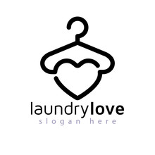 Love Laundry Logo Vector Eleme...
