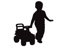 Little Boy Drives Baby's Car, Silhouette