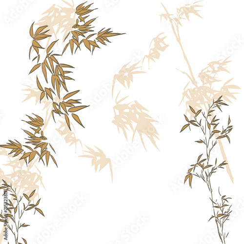 Bamboo template vector. Chinese gold leaves background. Hand drawn nature elements.