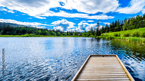 Fishing Dock on Little Heffley Lake, a small fishing lake, at the Heffley-Sun Peaks Road in the Shuswap region of the Okanagen in British Columbia, Canada