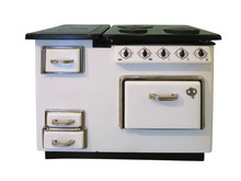 White Old Vintage Retro Kitchen Stove Isolated On White Background