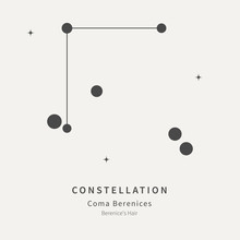 The Constellation Of Coma Berenices. Berenice's Hair - Linear Icon. Vector Illustration Of The Concept Of Astronomy.