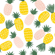 Colorful Seamless Pattern With Tropical Hand Drawn Pineapples. Vector Modern Background.