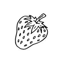 Hand Drawn Strawberry Doodle. Sketch Style Icon. Decoration Element. Isolated On White Background. Cartoon Design. Vector Illustration