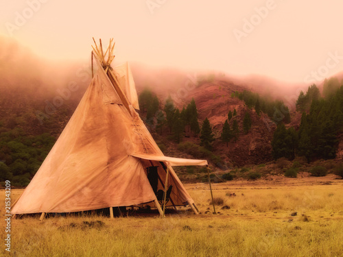 American native tent camp teepees Wallpaper Mural