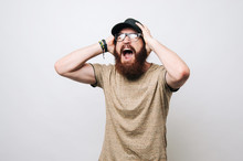 Man Screaming Mouth Open, Hold Head Hand, Wear T-shirt, Isolated White Background, Concept Face Emotion