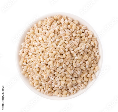 Photographie  bolw of Barley rice isolated on white background