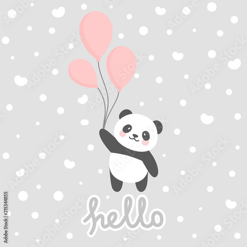 photograph about Baby Shower Card Printable known as Adorable Panda vector print, boy or girl shower card. panda with o
