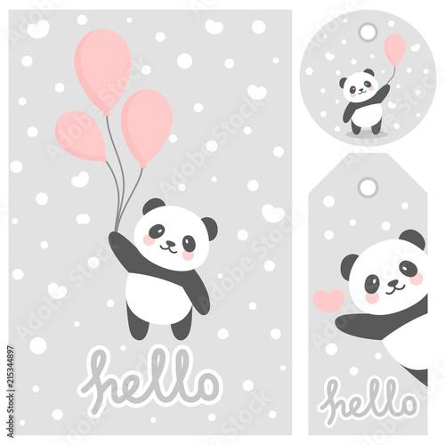 Fototapeta premium Panda vector print, baby shower card. witaj panda z ilustracją kreskówki balonu, kartką z życzeniami, kartkami dla dzieci na plakat lub baner urodzinowy, zaproszenie z kreskówek