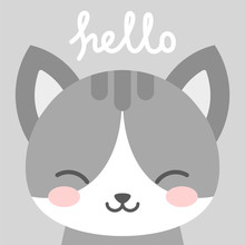 Hello Cute Cat Character Vecto...