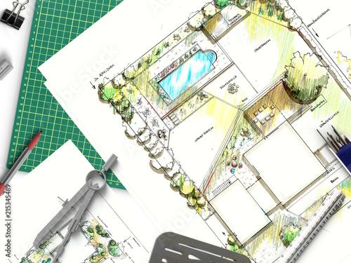 Poster Blanc Gartenbau - Gartenplanung mit Zeichnung