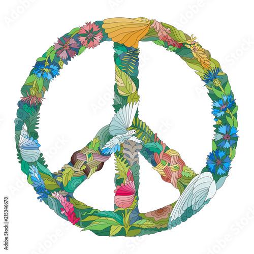 Foto  Zentangle stylized sign of peace