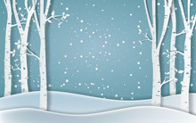 Forest Of Winter Season,Paper Vector Illustration