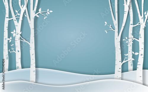 Fotomural Forest of winter season,Paper vector Illustration