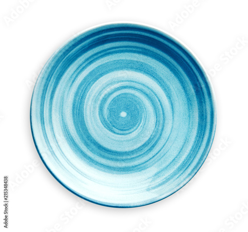 Foto auf AluDibond Spirale Empty blue ceramic plate with spiral pattern in watercolor styles, View from above isolated on white background with clipping path