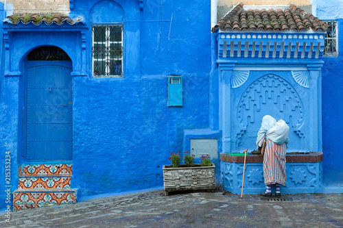 Canvas Prints Morocco Street scene in the blue medina of Chefchaouen, Morocco