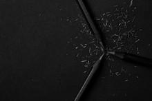 Black Pencils On Black Background