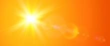 Sunny Background, Orange Sun W...