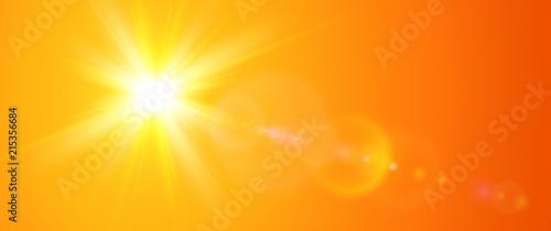 Foto Sunny background, orange sun with lens flare