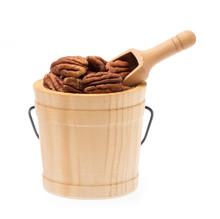 Pecan Nut In Small Wooden Buck...