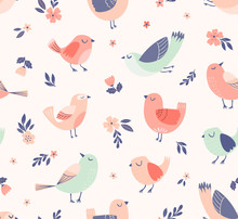 Cute Birds Floral Vector Patte...