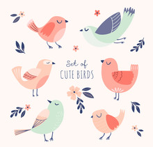 Set Of Cute Vector Birds With Flowers And Leaves. Spring, Summer Illustration With Cartoon Funny Birds.