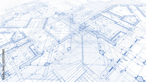 Architecture design: blueprint plan - illustration of a plan modern residential building / technology, industry, business concept illustration: real estate, building, construction, architecture - fototapety na wymiar