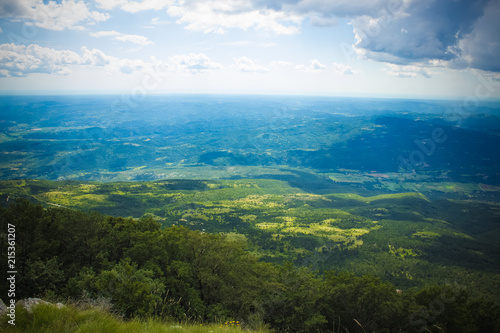 Keuken foto achterwand Grijze traf. soft focus country side field scenery nature landscape fro above concept with horizon lane view
