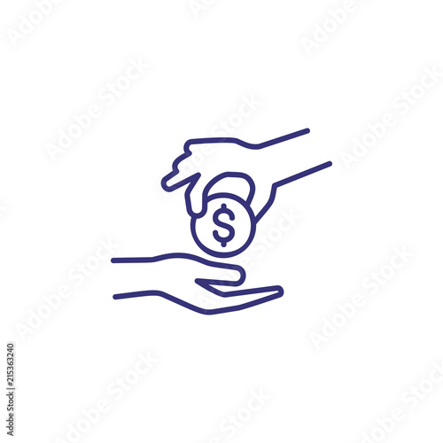 Donation line icon  Hand giving money  Finance concept  Can