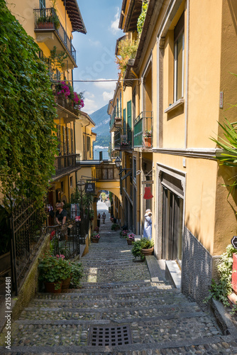 Poster de jardin Ruelle etroite Narrow alley of Bellagio leading to the lake, in the background a glimpse of the lake